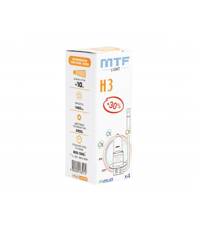 Галогенная лампа MTF Light H3 12v 55w - Standard +30%, , 110.0000, HS1203, MTF Light, [category_name]