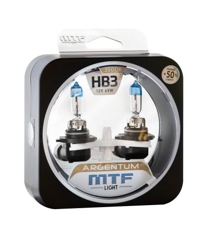 Комплект галогенных ламп MTF Light НB3 65W Argentum+50%, , 1000.0000, H5A12B3, MTF Light, [category_name]