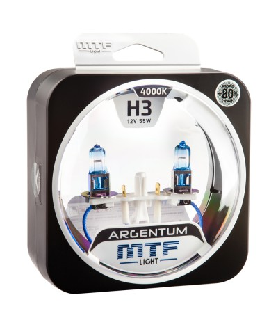 Комплект галогенных ламп MTF Light  H3 12V 55W ARGENTUM +80% 4000K, , 850.0000, H8A1203, MTF Light, [category_name]