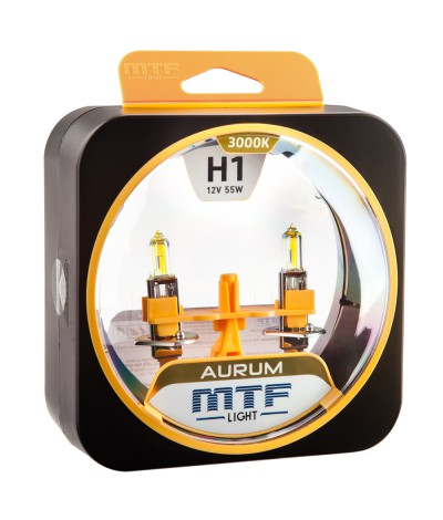 Комплект галогенных ламп MTF Light H1 12V 55W AURUM 3000K, , 800.0000, HAU1201, MTF Light, [category_name]
