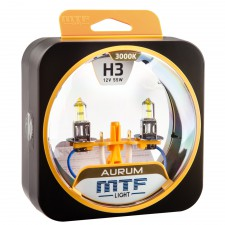 Комплект галогенных ламп MTF Light H3 12V 55W AURUM 3000K, , 800 руб., HAU1203, MTF Light, Серия Aurum
