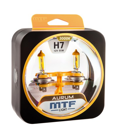 Комплект галогенных ламп MTF Light H7 12V 55W AURUM 3000K, , 900.0000, HAU1207, MTF Light, [category_name]
