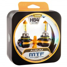 Комплект галогенных ламп MTF Light HB4(9006) 12V 55W AURUM 3000K, , 950 руб., HAU12B4, MTF Light, Серия Aurum