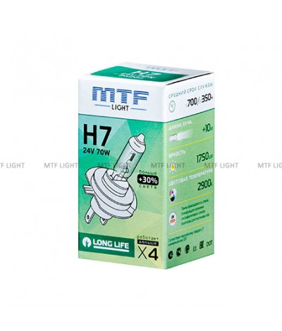 Галогенная лампа MTF Light автомобильная H7 24V 70W LONG LIFE x4, , 320.0000, HS2407, MTF Light, [category_name]