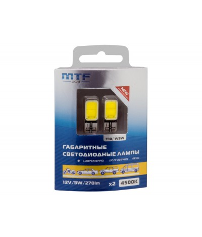 Светодиодная автолампа MTF Light W5W T10.12V,3W, 4500K, 270 люмен, COB LED, , 1400.0000, COB45T10, MTF Light, [category_name]