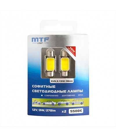 Светодиодная автолампа MTF Light, C5W/SV8.5/36mm, 12V, 3W, 270 люмен, 5500К, COB LED, Корея, 2шт	, , 1200.0000, COB55C5W, MTF Light, [category_name]